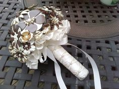 Brown and Ivory Brooch Bouquet - made with brooches/pins, earrings, buttons