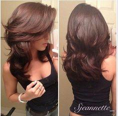 Mid length layered long bangs hair cut.... Pretty pretty pretty
