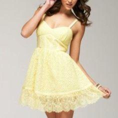 Coming  Bebe Yellow Eyelet Dress