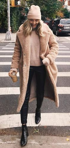 winter outfit inspiration / nude hat + fur coat + sweater + pants + boots