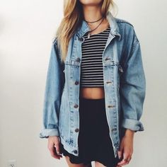 Striped cotton tee, light blue denim shirt, black flared mini skirt - http://ninjacosmico.com/17-hipster-outfits-try-spring/