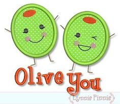 Olive You Applique - 3 Sizes! | Valentine's Day | Machine Embroidery Designs | SWAKembroidery.com Lynnie Pinnie