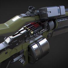 A small submachine gun with underbarrel railgun and cloaking device. Sci Fi Weapons, Armor Concept, Weapon Concept Art, Fantasy Weapons, Weapons Guns, Guns And Ammo, Komodo, Tactical Wall, Tactical Shotgun