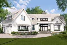 This expandable Farmhouse house plan is filled with charming details like built-ins and sliding barn doors on the walk-in pantry. The secret loft room would be so fun for the kids! Small Cottage House Plans, Small Cottage Homes, House Plans One Story, New House Plans, Dream House Plans, House Floor Plans, Unique House Plans, Story House, Architectural Design House Plans