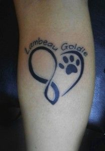 Heart and Infinity Dog Paw Tattoos