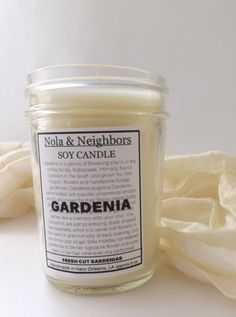 Gardenia scented candle 6 oz soy candle Fresh by NolaAndNeighbors