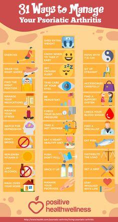 31 Ways To Manage Your Psoriatic Arthritis # psoriasis arthritis Psoriatic Arthritis Symptoms, Autoimmune Arthritis, Psoriasis Arthritis, Psoriasis Remedies, Arthritis Remedies, Psoriasis Diet, Inflammatory Arthritis, Arthritis Exercises, Yoga For Arthritis
