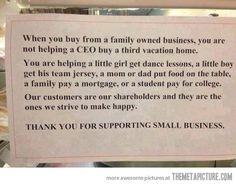 Funny pictures about Support Small Business. Oh, and cool pics about Support Small Business. Also, Support Small Business. Small Business Quotes, Support Small Business, Small Quotes, Family Business, Business Tips, The Meta Picture, Shop House Plans, Dance Lessons, Healthy Meals For Two
