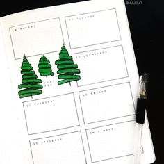 Bullet journal weekly layout, one paged bullet journal weekly layout, Christmas tree drawing. @nu.jour