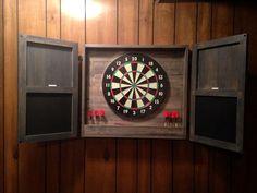 Dart Board Cabinet with Chalkboard Dartboard Cabinet Diy, Dartboard Wall, Dart Board Cabinet, Cabinet Plans, Diy Storage, Garage Storage, Storage Ideas, Garage Organization, Wood Screws