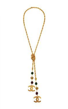 Vintage Chanel Gold CC & Gripoix Lariat From What Goes Around Comes Around by Vintage Chanel - Moda Operandi