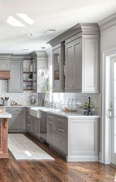 gray kitchen designs backsplash 34 luxury farmhouse kitchen design ideas to bring modern look trendehouse greykitchenideas this is beautiful love the corner cabinet as well gray and white