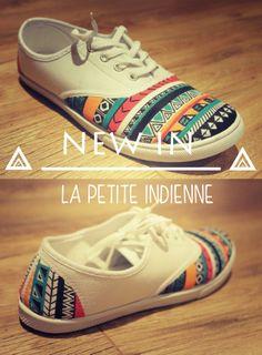 La petite indienne. Handmade shoes with Posca. By Petit Lou Shoes  Visit facebook/petitloushoes