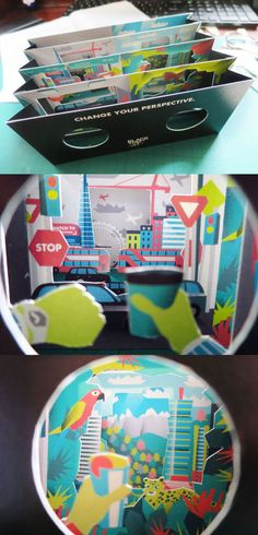 3d paper engineering peep show folding layers papercraft  pop up: