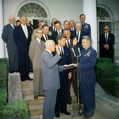 President John F. Kennedy Watches as Secretary of the Air Force Eugene M. Zuckert Swears in General Curtis E. LeMay as Chief of Staff of the United States Air Force