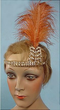 Flapper headdress, 1920s - bandeau with aigrette