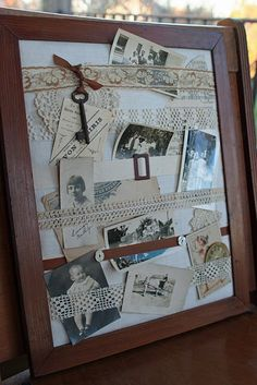 Vintage or black/white picture frame photo display.....would work so great in a shadow box as well!