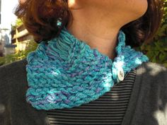 Turquoise and Lavender Hand Knit Scarflette made from Bamboo/cotton. $35.00, via Etsy.