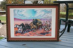 """Stagecoach painting I did in watercolor. appx. 30"""" x 40"""". $300."""
