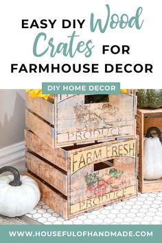 No tools are needed to make these fun vintage style DIY crates!Well, unless you consider scissors and a glue gun a tool? Because these farm fresh DIY crates I made for my fall decor are made out of paper! Can you believe it? #DIYCrates #FallDecor #FallIdeas Diy Crafts To Do At Home, Diy Home Decor, Fall Crafts, Vintage Crates, Wood Crates, Glue Gun, Diy Projects, Class Projects, Diy Woodworking