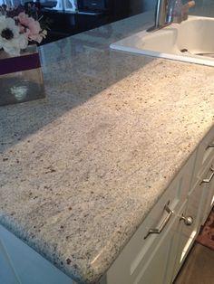 "Kashmir white granite. Quartz ""sparkle"" varies from slab to slab."