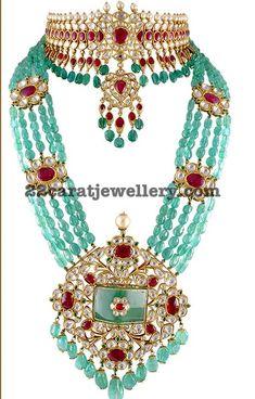 Kundan Choker and Emerald Beads Set - Jewellery Designs