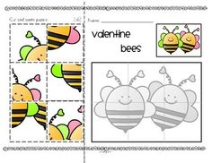 ***FREE***  Valentine's Day cut and paste puzzles (3)  Cut out the 6 colored puzzle pieces, and paste them over the matching pieces of the grey-line puzzle. A thumbnail picture of how the finished puzzle should look is included.