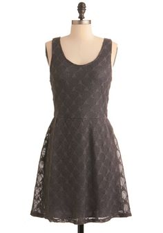 Check out how the lace covers the entire dress. The color of this grey is swell as well.