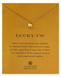 """Dogeared Lucky Us Elephant Necklace, 16"""" 