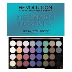Makeup Revolution Ultra 32 Eyeshadow Palette Matte Shimmers  Mermaids Forever