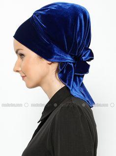 Arya Kadife Hazır Türban - Mavi - Vera Bone