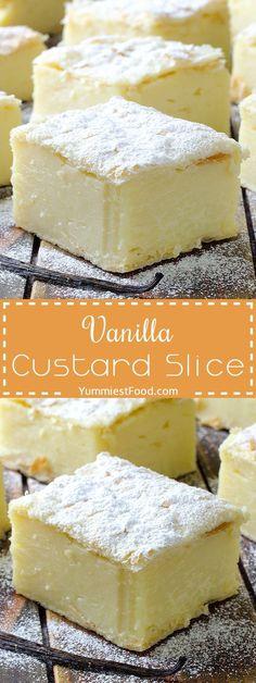 Vanilla Custard Slice - delicious, soft, creamy and so simple dessert! Vanilla Custard Slice is definitely Love at first bite! (soft foods to eat with braces) Custard Desserts, Mini Desserts, Easy Desserts, Custard Recipes, Vanilla Desserts, Simple Custard Recipe, Vanilla Cake, Healthy Desserts, Cooked Custard Recipe
