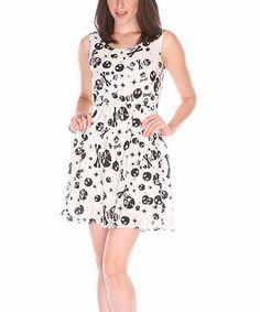 This Black & White Skull Sleeveless Dress is perfect! #zulilyfinds
