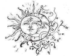 Sun moon & stars tattoo