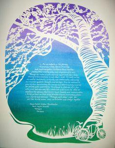 watercolor - paper cut out ketubah