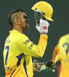MS Dhoni sported a mohawk when he took the field on his homeground, Chennai Super Kings v Titans, Champions League 2013, Group B, Ranchi, Se...