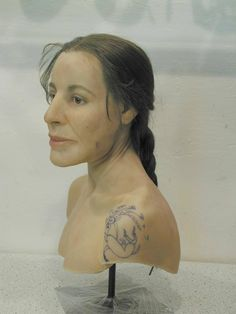 Reconstruction of the Scythian tattooed Ice Princess of the Altai. The tattoos are a darker blue on the mummified skin, probably they rubbed new tattoos with myrrh.