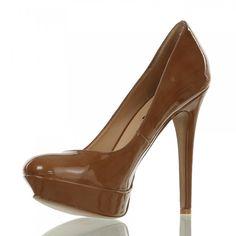 CINTI Damen leder Plateau-Pumps braun Absatz höhe 9cm Schuhe Damen Pumps