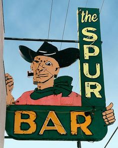 Fine art photo of the vintage Spur Bar sign  #Route66 #VintageSigns #NeonSigns #MotherRoad #RoadsideAmericana #GhostSigns #Retro #VanishingAmerica #SmallTown #Abandoned #Rustic #Decay #RoadsideAttraction