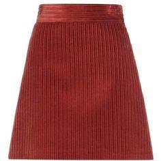 Miu Miu Corduroy Miniskirt ($570) ❤ liked on Polyvore featuring skirts, mini skirts, orange, miu miu, red skirt, orange mini skirt, short mini skirts and corduroy skirt