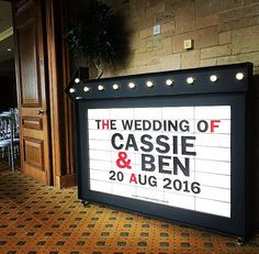 Personalised Light up Cinema Sign for Weddings