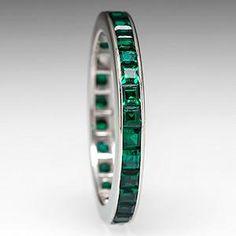 Vintage Lab Created Emerald Eternity Wedding Band Ring 10K White Gold - EraGem