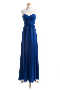 >> Click to Buy <<  long Women Formal Dress Folded Top royal blue chiffon bridesmaid dresses #Affiliate