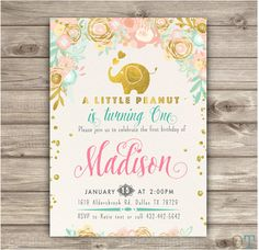 A little Peanut Elephant Birthday Invitations por cardmint en Etsy