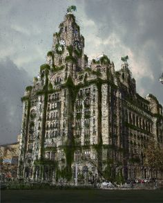 My first attempts with photoshop. Needs work. However, here it is at present.    The Liver Building, Liverpool UK, in the far future after the fall of civilisation on Earth, when only the structures survive to tell of the glorious golden days of the past...