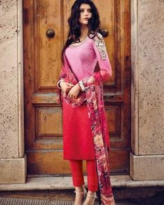Ombre Pink Straight Cotton Suit