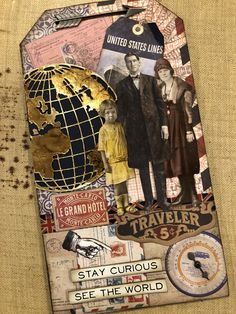 Stay curious was made on a small etcetera tag using Tim Holtz products.