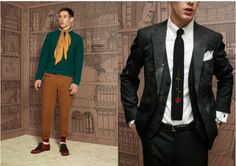 """Jake Gallagher—""""Overall I would say it's a mix of New England collegiate trad, British prep school, and French beatnik."""" Love the upside-down rose on the knit tie to the left."""