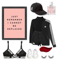 """All I do, is stay up all night losing sleep over you."" by nat-s-x ❤ liked on Polyvore featuring Jimmy Choo, DKNY, Ash, Boohoo, adidas Originals, Moschino and Kat Von D"
