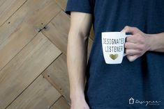 OMG, LOVE THESE DIY his and hers mugs! Designated talker and designated listener--so funny. / www.designertrapp...